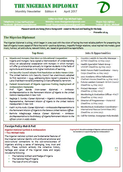 The Nigerian Diplomat Monthly Newsletter April 2017