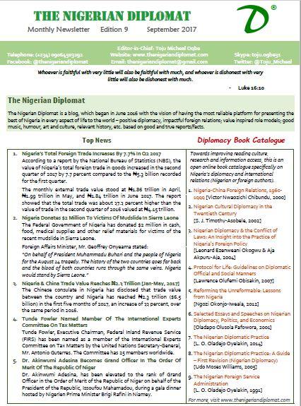 The Nigerian Diplomat Monthly Newsletter September 2017