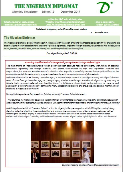 The Nigerian Diplomat Monthly Newsletter December 2017