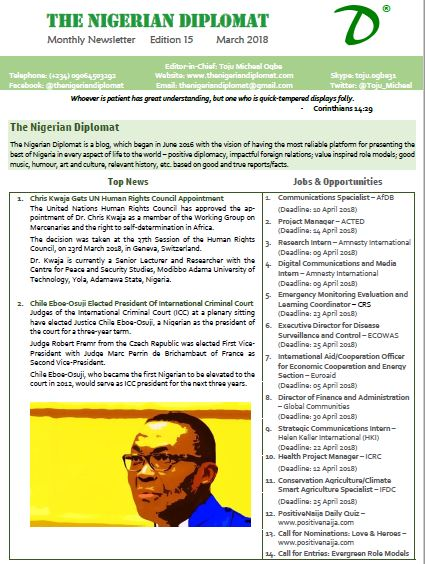 The Nigerian Diplomat Monthly Newsletter March 2018