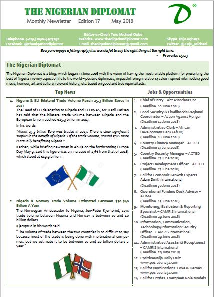 The Nigerian Diplomat Monthly Newsletter May 2018