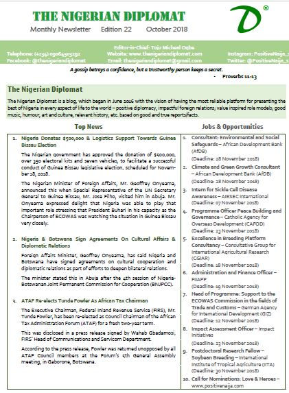 The Nigerian Diplomat Monthly Newsletter October 2018